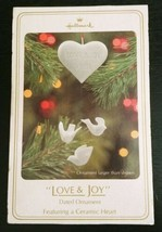 Hallmark 1981 Love & Joy Christmas Ornament Ceramic Heart Doves w Box Vi... - $24.18