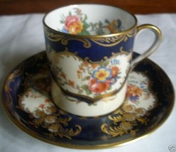 EXQUISITE ENGLISH AYNSLEY CUP & SAUCER ARISTOCRAT PATTERN COBALT - $85.00