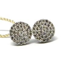 WHITE GOLD EARRINGS 750 18K, DIAMONDS CARAT 0.50, BUTTON, ROUND, pavÉ 8 MM image 1