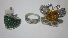 3 PC LOT SIZE 8.5-9 MADE WITH SWAROVSKI CRYSTAL RINGS BUTTERFLY STATEMEN... - €6,48 EUR