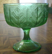 Vintage Beautiful Green Avocado Glass Candy Compote Oak Leaf Motif  F.T.... - $7.72