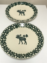 "Tienshan Folk Craft Moose Country Green Sponge 12"" Serving Chop Plate Se... - $48.00"