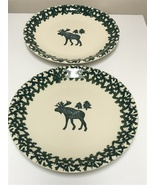 "Tienshan Folk Craft Moose Country Green Sponge 12"" Serving Chop Plate Se... - $48.00"