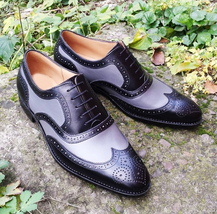 Genuine Two Tone Real Leather Wing Tip Men Handmade Brogues Toe Oxford Shoes - $139.90+