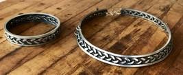 Jensen Jewelry Modern Flat Collar Necklace & Bangle Bracelet Set Signed ... - $84.26