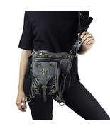 Steampunk Waist bags Womens Motorcycle Leg Bags Vintage Gothic Leather M... - $102.28