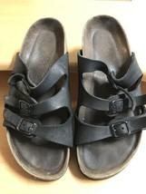 BIRKENSTOCK Sandals Black Leather 3 Strap Sz 38 US 7  medium - $23.06