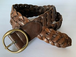 Gap Woven Belt Size Small Brown Leather 1.5 Inch Wide Boho Hippie Brass ... - $13.86