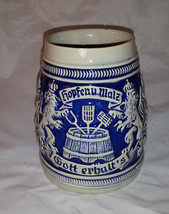 Vintage Ceramic Blue and White Stoneware .05L Stein - $19.95