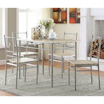 Small Kitchen Table Sets Dining for 4 Dinner Room 5 Piece Taupe Vinyl an... - $206.62