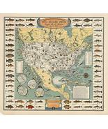 1936 Big Game Fish Map Pictorial Border Fishing Fishermen Gifts Presents... - $12.87+