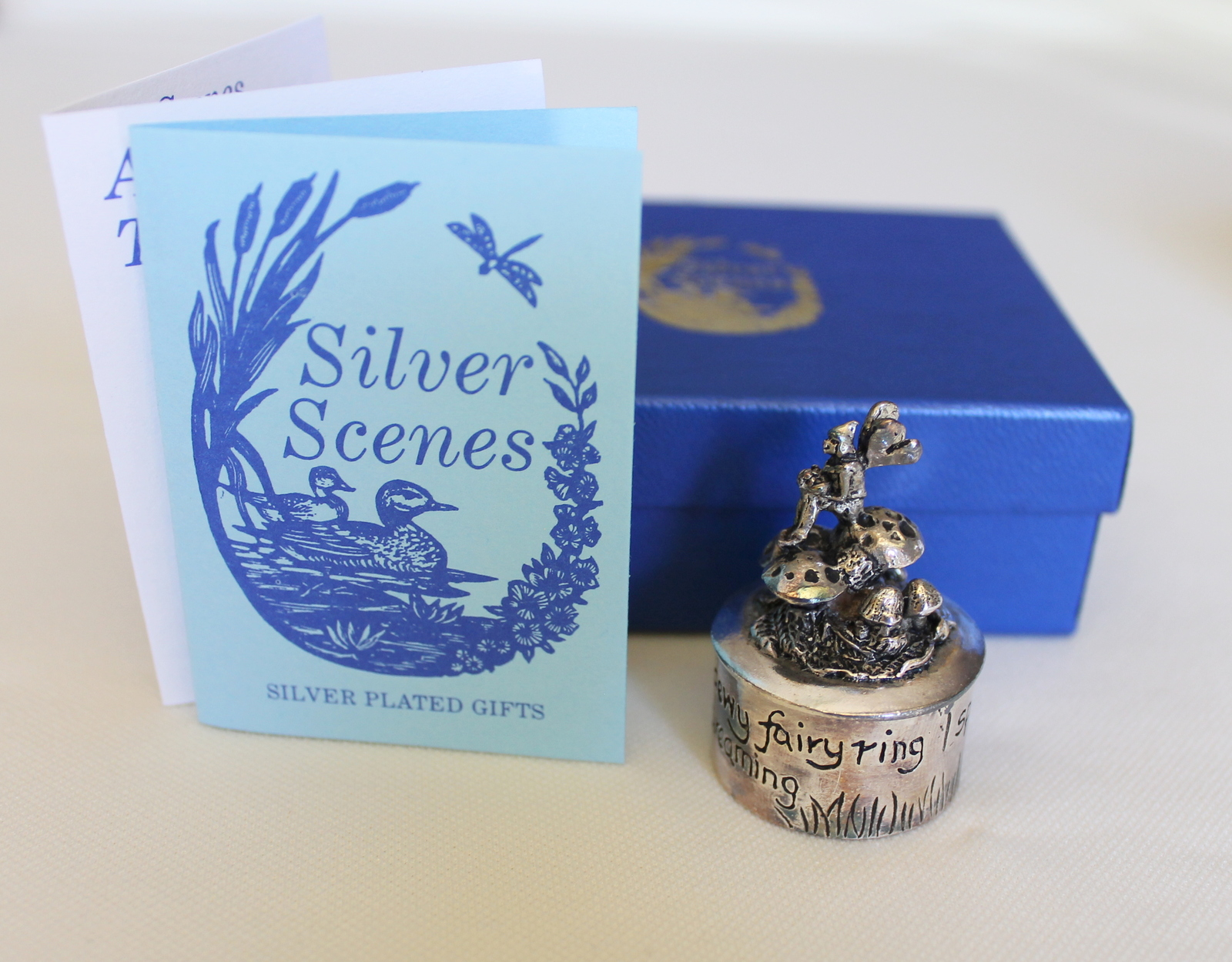 Silver Scenes Silver Plated Gifts, Elf Sitting on Mushrooms, Made in Wales
