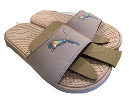 PUMA Womens Sz 6 Cool Cat Athletic Sport Slides Sandals Light Pink Silver - $34.97