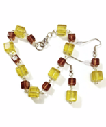 Brown and Yellow Cube Bracelet and Earrings Set - $24.90+