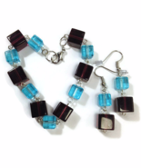 Blue and Purple Cube Bracelet and Earrings Set - $16.90+
