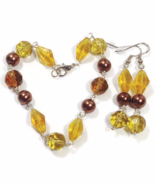 Yellow and Brown Bracelet and Earrings Set - $16.90+
