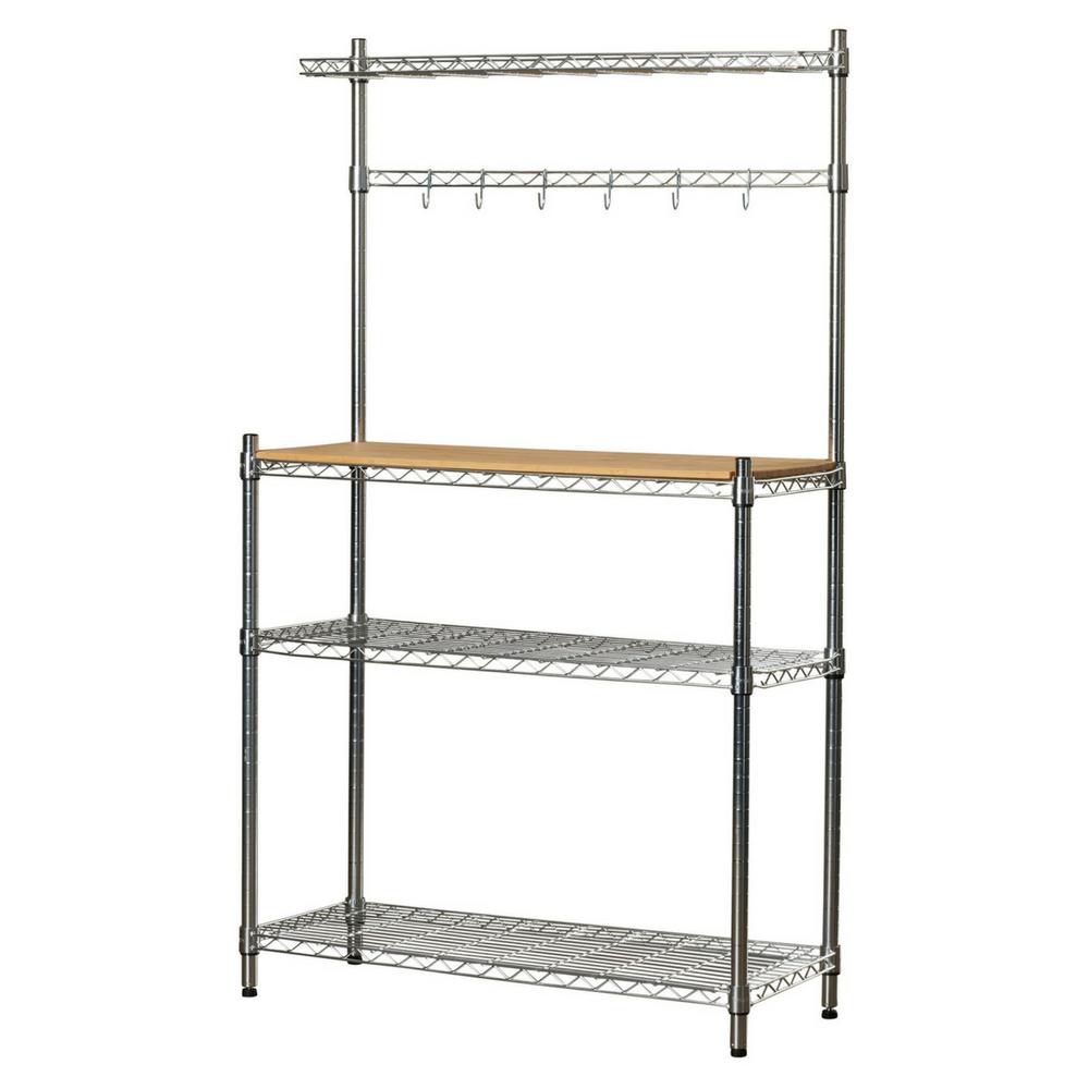 Bakers Rack Kitchen Storage Shelves And Hooks Bamboo Cutting Board Organize Baker 39 S Racks