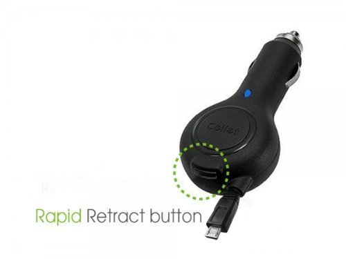 """Professional Retracatble Samsung SGH-I337ZKZAIO Car Charger with """"""""One-Touch""""... image 3"""