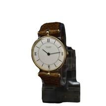 Vintage Van Cleef & Arpels 14K Gold Brown Leather White Dial 22mm Watch - $1,119.16