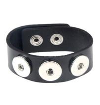 Chanfar 24CM Leather Bracelet Wrap Charm Snap Button Bracelet Bangle Boh... - $7.62