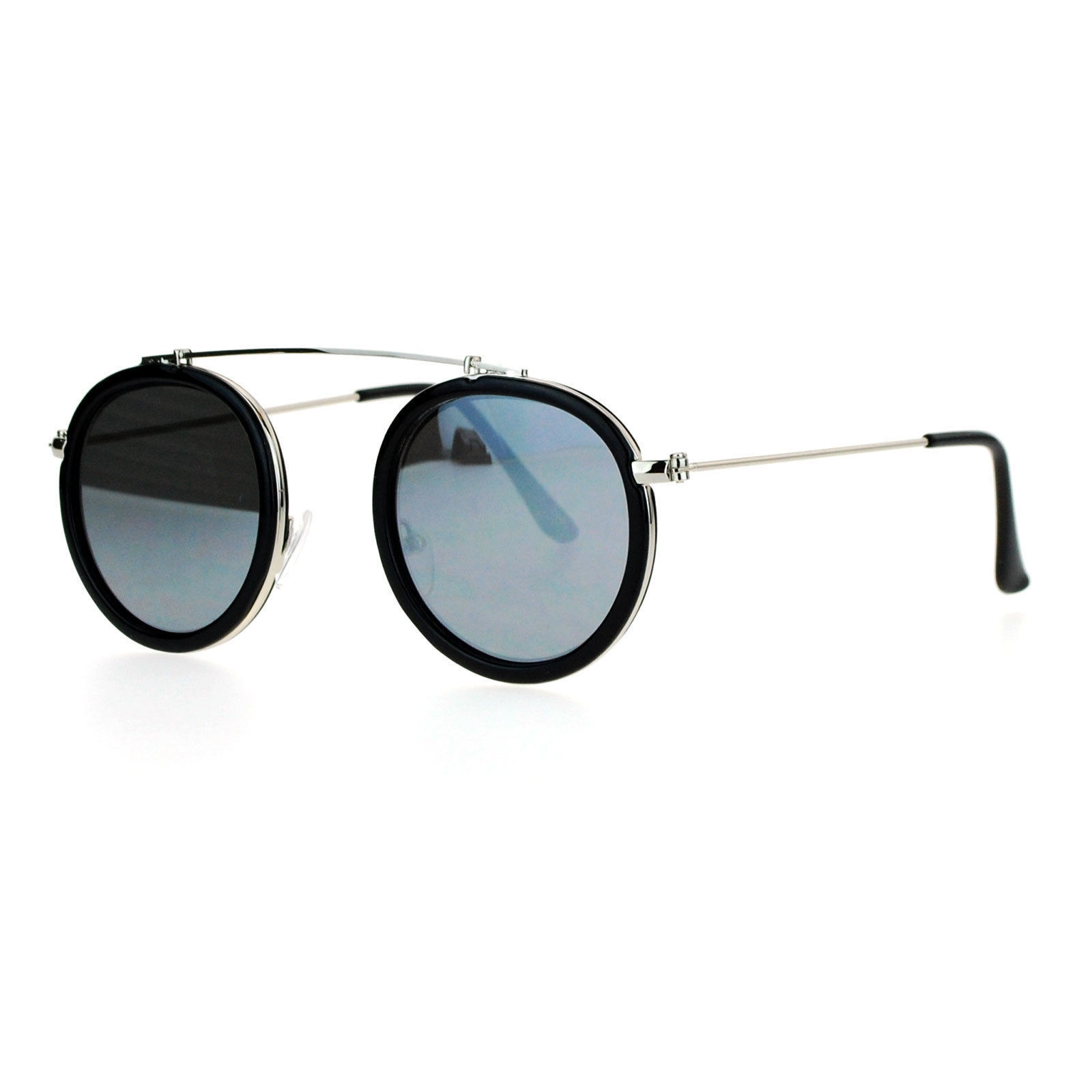 Vintage Retro Fashion Sunglasses Round Metal Top Bridge Flat Narrow Frame Lens