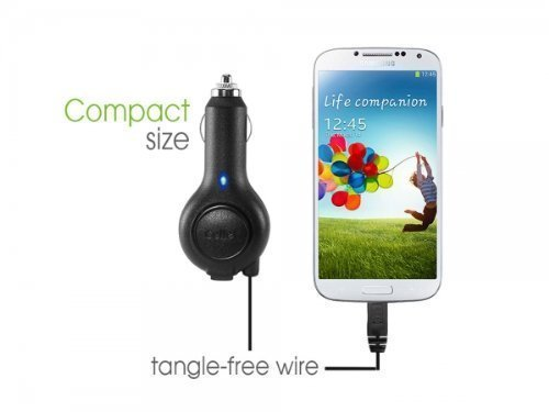 "Professional Retracatble Amoi E78 Car Charger with """"One-Touch"""" rapid button..."