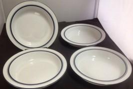 """Dansk Bistro Christianshavn Blue Rim Set of 4 -8"""" Soup Bowls Portugal/Thailand  - $19.35"""