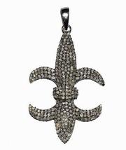 Fleur de lis design high quality shiny champangne diamonds 925 sterling pendant - $123.94