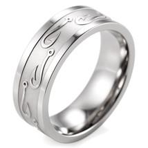 Men's Titanium Fish Hooks Ring High Polishing Outdoor Hunting Wedding Band  - $31.98