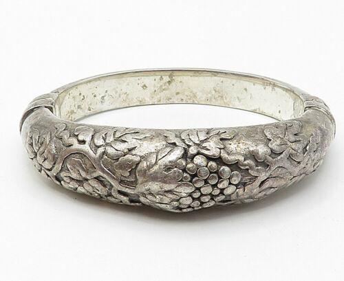 925 Silver - Vintage Embossed Grape Vine Detail Hinged Bangle Bracelet - B4938
