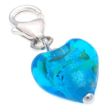 Sterling 925 Silver Welded Bliss Charm Murano Blue Venetian Glass Heart Clip On - $13.25