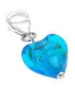 Sterling 925 Silver Welded Bliss Charm Murano Blue Venetian Glass Heart ... - $13.25