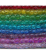 8mm Crackle Glass Beads (50) Mixed Color Assortment - $1.92