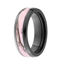 Pink Black Camo TITANIUM Durable Hunting Camouflage 6mm Wedding Band Rin... - $21.99