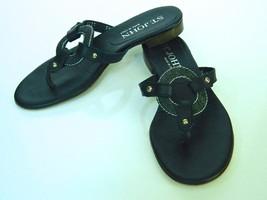 ST JOHN Sandals Thong Navy Leather Denim Ring 5 1/2 great - $19.79