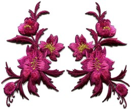 Fuschia pink flowers pair floral bouquet boho applique iron-on patches n... - $3.75