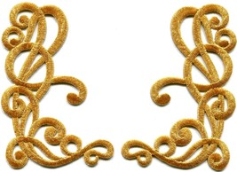 Gold trim art deco leaves glitter boho applique iron-on patches pair new... - £4.50 GBP