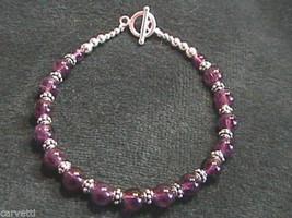 "Amethyst and Sterling Silver Bali Bead Bracelet - 7.5"" - $20.15"