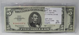 1963 $5 Red Seal U.S. Notes 2 Consecutive GEM CU PC-405 - $134.42