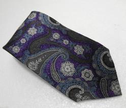 Brioni Purple Gray & Blue Paisley Silk Necktie ... - $77.37