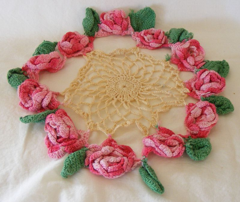 Very vintage rose crochet doily