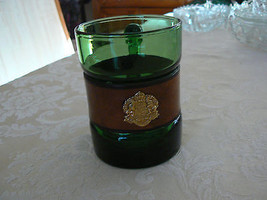 Vintage Green Clear Glass Mug with Leather Band... - $9.89