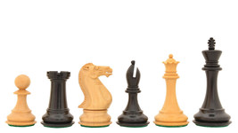 "The Dominator Weighted Staunton Chess Pieces in Ebony / Box Wood-4-0"" King S1234 - $270.99"