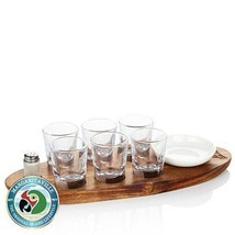 Margarita Shot Glass wood Tray Set bowl salt shaker drinks bar mix - €48,49 EUR