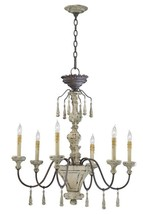 Provence French Country Iron Distressed Wood  Farmhouse Carriage Chandelier - $494.01