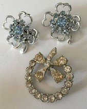 Vintage Rhinestone Four Leaf Clover Pins 3 Brooches 1 Marked ANN - $19.29
