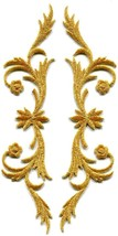 Gold trim fringe leaves glitter boho sew applique iron-on patches pair S-1099 - $5.93