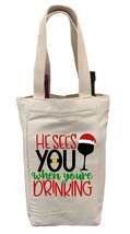 He Sees You When You're Drinking Wine Gift Bag, Christmas Wine Gift Bag,... - $14.99