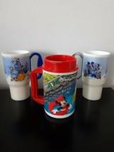 Set of 3 Disney Parks Souvenir Cups  2007 Plastic Collectible Mickey Minnie - $16.78