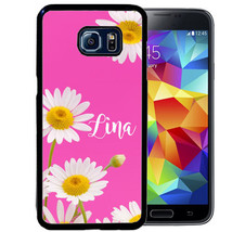 PERSONALIZED RUBBER CASE FOR SAMSUNG S9 S8 S7 S6 S5 PLUS PINK WHITE DAIS... - $13.98